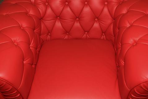 1-Sitzer Modell YS-2008 Sessel Couch Sofa Chesterfield Italy Leder rot - Vorschau 3