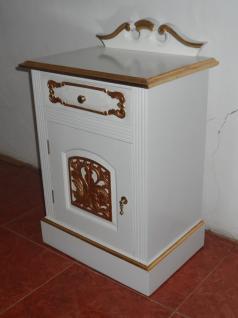Nachttisch Konsole massiv Mahagoni Farbe weiß-gold - Vorschau