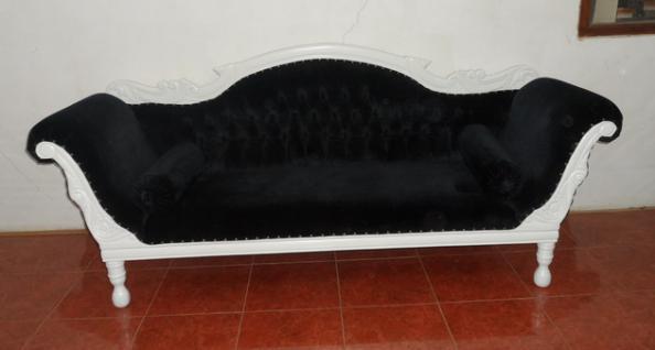 Wunderschöne Couch Recamiere Ottomane Mahagoni weiß/ Bezug Samt schwarz - Vorschau