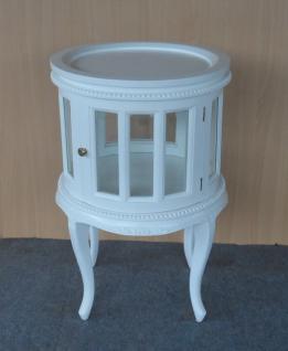 Teetisch rund mit Tablett auch als Hausbar Mahagoni Farbe weiß