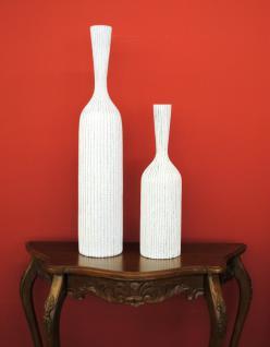 Designervase Deko Vase Korfu weiss / silber Höhe 94, 5 cm