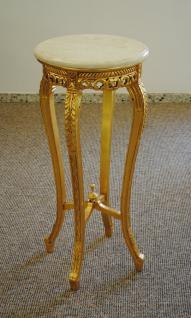 Blumenständer Beistelltisch Tisch aus Mahagoni Farbe Gold Handarbeit Marmortop