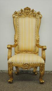 Dekorativer Thron Thronstuhl Sessel Mahagoni Farbe Holz gold