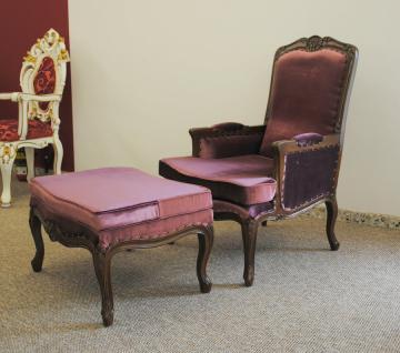 Traumhafter Sessel mit Ottomane Mahagoni braun Walnuss Bezug Samt Concerto - Vorschau 2
