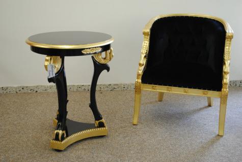 Rococo Sessel Schwanenmotiv Mahagoni Gold schwarzer Samt und passender Tisch