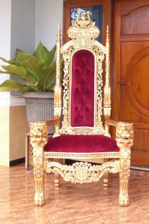 Dekorativer Thron Thronstuhl Sessel Mahagoni Gold Samt rot