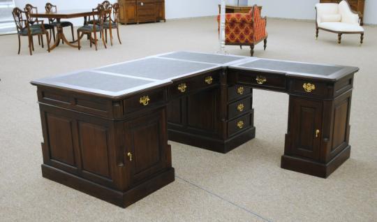 Empire Sekretär Schreibtisch Partner Desk Doppel Partner Desk Mahagoni - Vorschau 3