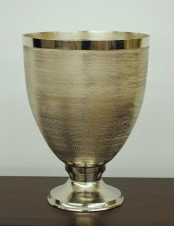 Standvase Vase Übertopf Kelch Aluminium gehämmert Farbe Silber 29cm