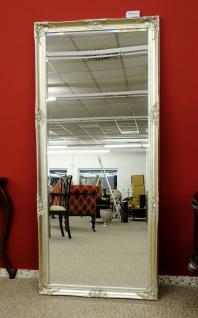 Grosser Spiegel Wandspiegel Farbe Shiny Silber mit Facettenschliff 80 x 180 cm