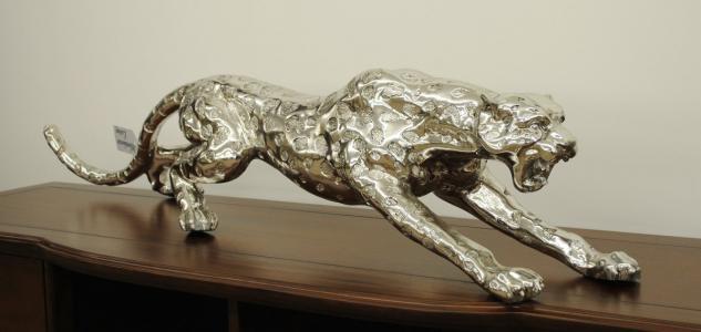 Dekofigur grosser springender Gepard antiksilber beschichtet Länge 145 cm