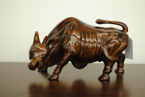 Bull Bulle Stier Figur DEKOFIGUR Mahagoni Handarbeit - Vorschau 2