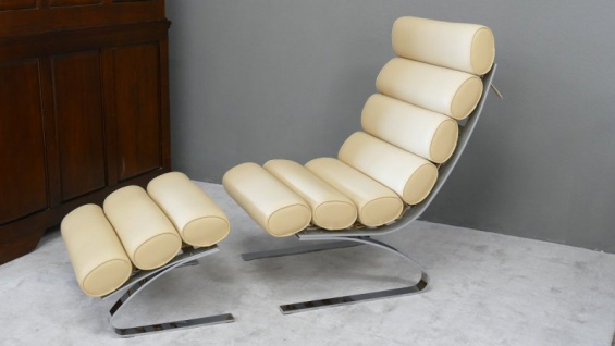 Relax Liege Lounge Liege Sofa Design Klassiker Couch Material PU Farbe beige