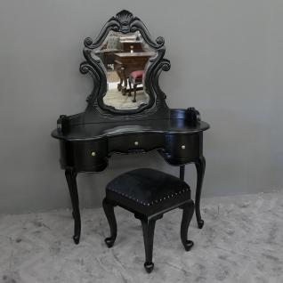 Englische Konsole Mahagoni Schminktisch mit Hocker Chippendale Farbe black