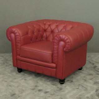 1-Sitzer Modell YS-2008 Sessel Couch Sofa Chesterfield Italy Leder rot