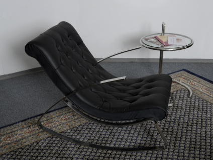 Schaukelstuhl Lounge Liege Sofa Design Klassiker Couch Farbe : Schwarz