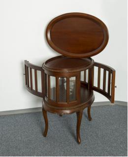 Teetisch Tisch mit Tablett auch als Hausbar Mahagoni Farbe dunkelbraun Walnuss - Vorschau 2