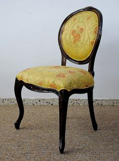 Dekorativer Stuhl Holz massiv Mahagoni brown Walnuss Bezug Michele