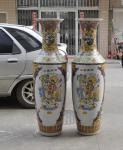 Monumentales Prunkgefäß Standvase Vase hochwertiges Porzellan H 180 cm