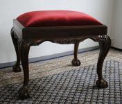 Wunderschöne Ankleide Bank Hocker Louis Stil Mahagoni Samt rot