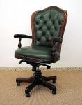 Englischer Bürosessel Chefsessel Mahagoni brown Walnuss, Echtleder grün