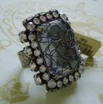 KONPLOTT Ring Ice Cocoon crystal / antique silver