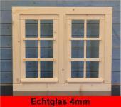 Gartenhaus Doppelfenster 81x68cm 6 Sprossenfelder zum Öffnen Dreh-, und Kippbeschlag Glas