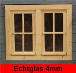 Gartenhaus Doppelfenster 81x68cm 4 Sprossenfelder zum Öffnen Dreh-, und Kippbeschlag Glas