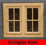 Gartenhausfenster Doppelfenster 81x68cm 4 Sprossenfelder zum Öffnen Dreh-, und Kippbeschlag Glas