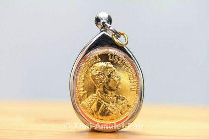 Vergoldetes König Chulalongkorn Thai Amulett - Vorschau 1