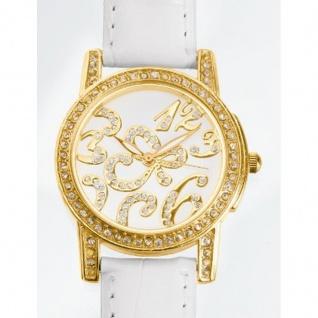 extravagante Strass-Armbanduhr weiß