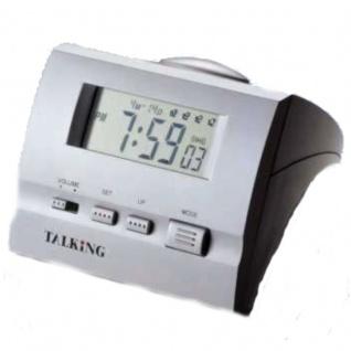 sprechende Uhr Blindenuhr Tischuhr Wecker 4-fach Alarm Stoppuhr 9905