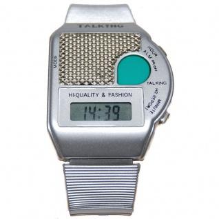 sprechende Uhr Blindenuhr Armbanduhr Wecker Alarm 6694