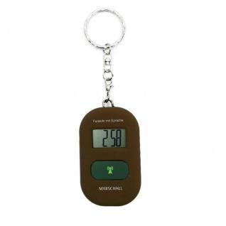 sprechender Schlüsselanhänger sprechende Uhr Wecker mit Funk Funkuhr braun