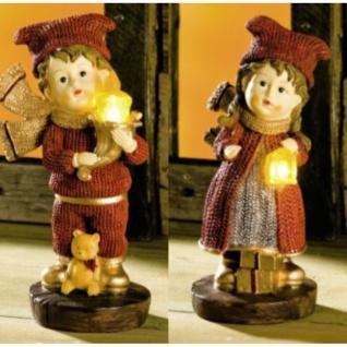 2 x Deko-Figur Junge und Mädchen mit Licht 19 cm