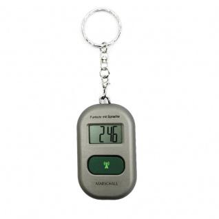 sprechender Schlüsselanhänger sprechende Uhr Wecker mit Funk Funkuhr silber