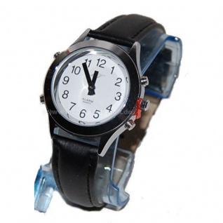 sprechende analoge Damen Armbanduhr Blindenuhr Leder Armband Komplettdatum 32mm DSL