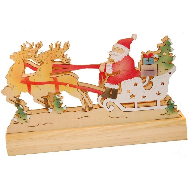 WENKO Weihnachtsschlitten Holz mit LED Schlitten Weihnachten ...