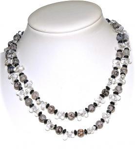 Kette Achat Bergkristall Onyx 925er Sterling Silber