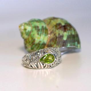 Ring 925er Sterling Silber mit facettiertem Peridot Gr. 18