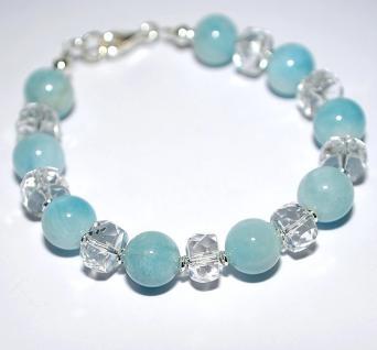 Armband Aquamarin Bergkristall 925er Sterling Silber