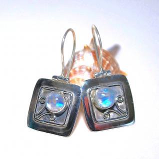 Ohrringe 925er Sterling Silber Regenbogen Mondstein - Vorschau