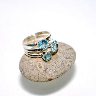Ring 925er Sterlingsilber Blau Topas Größe 17 (54)