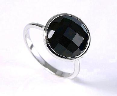 Ring 925er Sterling Silber rhodiniert Onyx facettiert