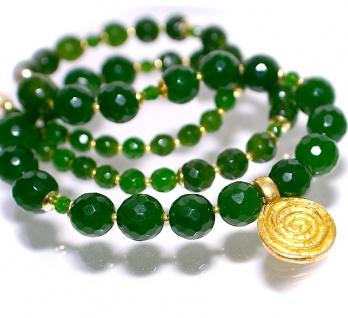 Kette Nephrit Jade 925er Sterling Silber vergoldet