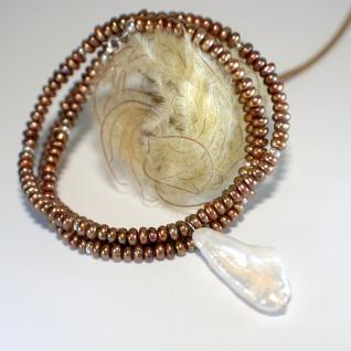 Kette Süßwasser Zuchterle Kupfer Biwa Perle Weiß 925er Sterlingsilber