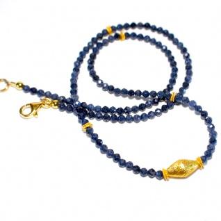 Kette Halskette Saphir Natur Facettiert 925er Sterlingsilber Vergoldet Unikat