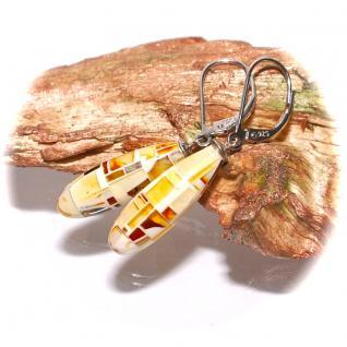 Ohrhänger verschließbar 925er Sterlingsilber rhodiniert Natur Bernstein Mosaik