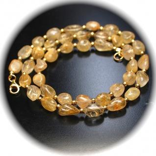 Kette Gold Rutilquarz 925er Sterlingsilber vergoldet Unikat