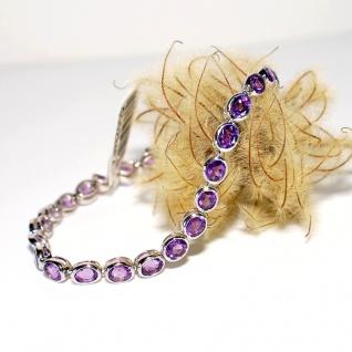 Armband 925er Sterlingsilber rhodiniert Amethyst Länge 18, 5 cm Juwelier Qualität
