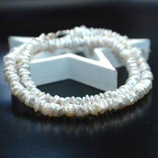 Kette Keshi Perle Cornflakes Weiß 925er Sterlingsilber - Vorschau 2